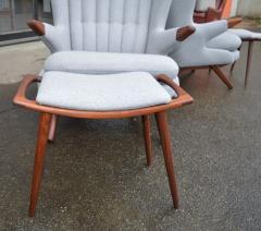 Svend Skipper Rare Pair Svend Skipper Restored Papa Bear Lounge Chairs Ottomans - 2061374