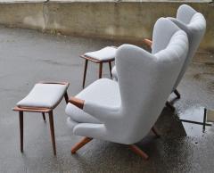 Svend Skipper Rare Pair Svend Skipper Restored Papa Bear Lounge Chairs Ottomans - 2061375