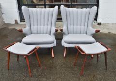 Svend Skipper Rare Pair Svend Skipper Restored Papa Bear Lounge Chairs Ottomans - 2061378