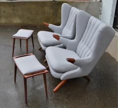 Svend Skipper Rare Pair Svend Skipper Restored Papa Bear Lounge Chairs Ottomans - 2061389