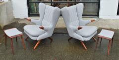 Svend Skipper Rare Pair Svend Skipper Restored Papa Bear Lounge Chairs Ottomans - 2061402