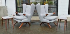 Svend Skipper Rare Pair Svend Skipper Restored Papa Bear Lounge Chairs Ottomans - 2061407