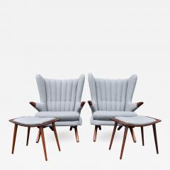 Svend Skipper Rare Pair Svend Skipper Restored Papa Bear Lounge Chairs Ottomans - 2064443