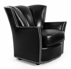 Swaim Furniture PAIR OF CONTEMPORARY BLACK LEATHER STUDDED CLUB CHAIRS - 1291794