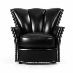 Swaim Furniture PAIR OF CONTEMPORARY BLACK LEATHER STUDDED CLUB CHAIRS - 1291796
