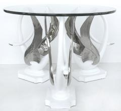 Swan Center Side Table in Resin with Silver Bases and Round Glass Top - 1240359