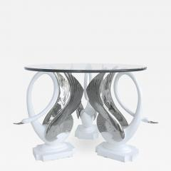 Swan Center Side Table in Resin with Silver Bases and Round Glass Top - 1242157