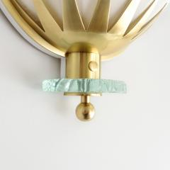 Swedish Art Deco Scandinavian Modern brass and glass sconces with fabric shades - 1777586