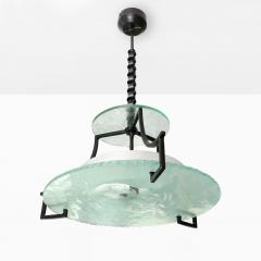 Swedish Etched glass and iron chandelier with fish and wave design  - 1849136