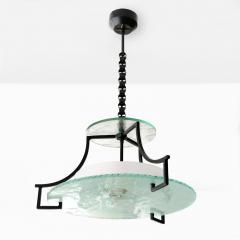 Swedish Etched glass and iron chandelier with fish and wave design  - 1849139