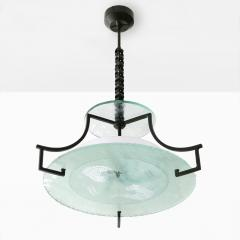 Swedish Etched glass and iron chandelier with fish and wave design  - 1849140
