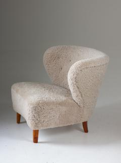 Swedish Lounge Chairs in Sheepskin by G sta Jonsson 1940s - 1637145
