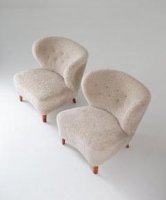 Swedish Lounge Chairs in Sheepskin by G sta Jonsson 1940s - 1637148