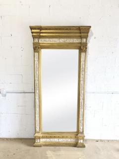 Swedish Neoclassic Monumental Cream Painted Parcel Gilt Pier Mirror early19 C - 1464558