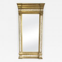 Swedish Neoclassic Monumental Cream Painted Parcel Gilt Pier Mirror early19 C - 1467496