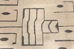 Swedish Skvattram Half Pile Geometric Black and Beige Rug - 1811766