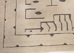 Swedish Skvattram Half Pile Geometric Black and Beige Rug - 1811774