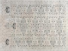 Swedish Skvattram Half Pile Geometric Black and Beige Rug - 1811786