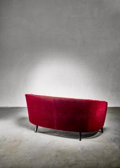 Swedish burgundy red velvet sofa 1930s 40s - 1185996