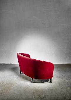 Swedish burgundy red velvet sofa 1930s 40s - 1185997