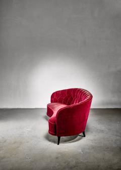 Swedish burgundy red velvet sofa 1930s 40s - 1186002