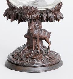 Swiss Black Forest Carved Linden Wood Cut Glass Compote Marked Meiringen - 1972555