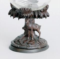 Swiss Black Forest Carved Linden Wood Cut Glass Compote Marked Meiringen - 1972557