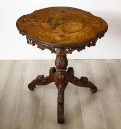 Swiss Black Forest Walnut Marquetry Tilt Top Table - 2122077