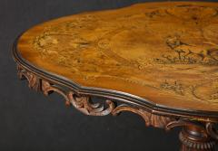 Swiss Black Forest Walnut Marquetry Tilt Top Table - 2122082