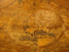 Swiss Black Forest Walnut Marquetry Tilt Top Table - 2122083