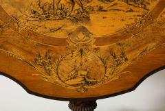 Swiss Black Forest Walnut Marquetry Tilt Top Table - 2122085
