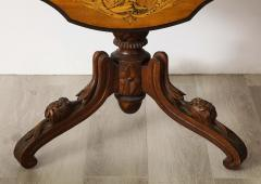 Swiss Black Forest Walnut Marquetry Tilt Top Table - 2122086
