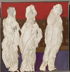 Sylvia Rutkoff 1950s Three Kings Oil Impasto Figurative Painting NYC Brooklyn Museum Artist - 1919255