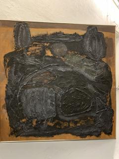 Sylvia Rutkoff 1960s Art Brut Abstract Impasto Painting Vietnam Mid Century NYC - 1920157
