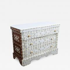 Syrian White Mother of Pearl Inlay Wedding Dresser - 359137