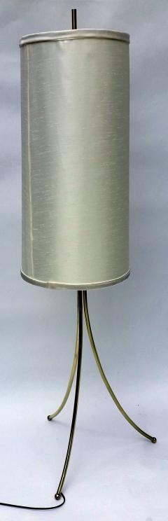T H Robsjohn Gibbings Brass Tripod Floor Lamp in the Style of Robsjohn Gibbings 1950 - 572629