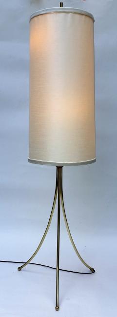 T H Robsjohn Gibbings Brass Tripod Floor Lamp in the Style of Robsjohn Gibbings 1950 - 572633