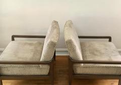 T H Robsjohn Gibbings Pair T H Robsjohn Gibbings Style Hand Grained Walnut Lounge Chairs - 1760599
