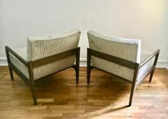 T H Robsjohn Gibbings Pair T H Robsjohn Gibbings Style Hand Grained Walnut Lounge Chairs - 1760600