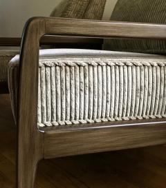 T H Robsjohn Gibbings Pair T H Robsjohn Gibbings Style Hand Grained Walnut Lounge Chairs - 1760603
