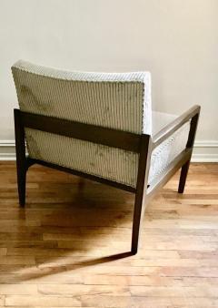 T H Robsjohn Gibbings Pair T H Robsjohn Gibbings Style Hand Grained Walnut Lounge Chairs - 1760606