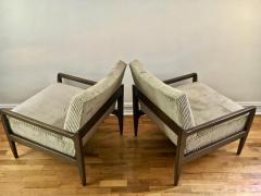 T H Robsjohn Gibbings Pair T H Robsjohn Gibbings Style Hand Grained Walnut Lounge Chairs - 1760607