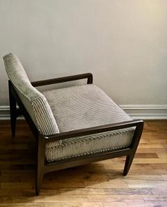 T H Robsjohn Gibbings Pair T H Robsjohn Gibbings Style Hand Grained Walnut Lounge Chairs - 1760611