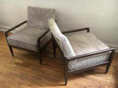 T H Robsjohn Gibbings Pair T H Robsjohn Gibbings Style Hand Grained Walnut Lounge Chairs - 1760612