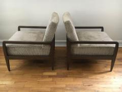 T H Robsjohn Gibbings Pair T H Robsjohn Gibbings Style Hand Grained Walnut Lounge Chairs - 1760613