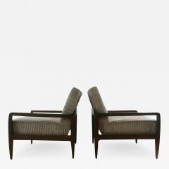 T H Robsjohn Gibbings Pair T H Robsjohn Gibbings Style Hand Grained Walnut Lounge Chairs - 1761811