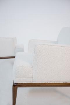 T H Robsjohn Gibbings Pair of Lounge Chairs by T H Robsjohn Gibbings in white boucl 1950s - 1884687