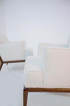 T H Robsjohn Gibbings Pair of Lounge Chairs by T H Robsjohn Gibbings in white boucl 1950s - 1884688