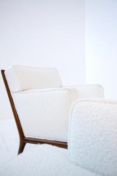 T H Robsjohn Gibbings Pair of Lounge Chairs by T H Robsjohn Gibbings in white boucl 1950s - 1884689