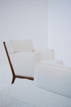 T H Robsjohn Gibbings Pair of Lounge Chairs by T H Robsjohn Gibbings in white boucl 1950s - 1884691